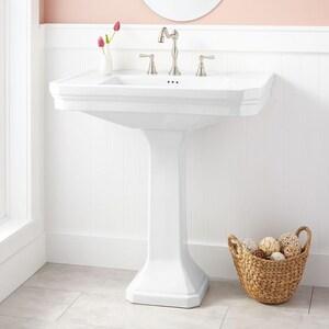 Signature Hardware Kacy Pedestal Bathroom Sink in White SH315912
