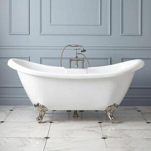 Signature Hardware Rosalind 63 x 28 in. Freestanding Bathtub Offset Drain in White SH389214