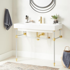 Signature Hardware Stoddert Integral Bathroom Sink in White with Chrome/Polished Brass Stand SH442906