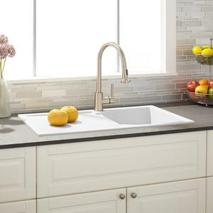 Signature Hardware Allardt 33 3 4 X 19 5 8 In No Hole Composite Single Bowl Drop In Kitchen Sink In White Sh425906 Ferguson