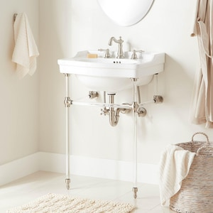 Signature Hardware Cierra Integral Bathroom Sink in White with Brushed Nickel Stand SH442858