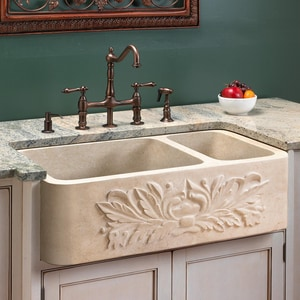 Signature Hardware Ivy 33 In X 20 In Marble 2 Bowl Apron Front Kitchen Sink In Cream Egyptian Marble Sh258709 Ferguson