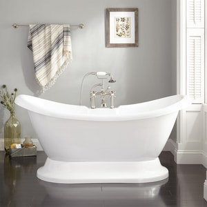 Signature Hardware Rosalind 69 x 29 in. Freestanding Bathtub with Rear Center Drain in White SH399742