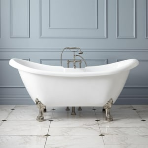 Signature Hardware Rosalind 63 x 28 in. Freestanding Bathtub Offset Drain in White SH389221