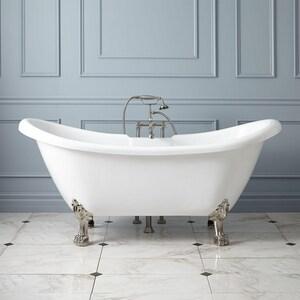 Signature Hardware Rosalind 63 x 28 in. Freestanding Bathtub Offset Drain in White SH389224