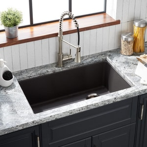 Signature Hardware Totten 33 X 22 In No Hole Composite Single Bowl Dual Mount Kitchen Sink In Grey Shgr1b3322gy Ferguson
