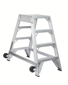 Louisville Ladder 4 ft. Aluminum Twin Front Rolling Ladder LAM8004