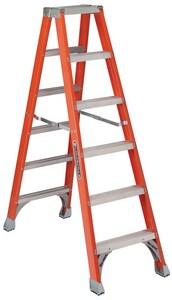 Louisville Ladder 6 ft. x 22-9/16 in. 300 lbs. Fiberglass Double Step Ladder LFM1506 at Pollardwater
