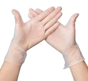 HNC ENTERPRISES L Size Powder Free Coated Vinyl Disposable Gloves in Clear (Box of 100) H6007BX