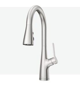 Pfister Neera Single Handle Pull Down Kitchen Faucet In Stainless Steel Lg529 Nes Ferguson