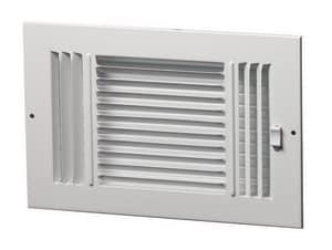 PROSELECT® 12 x 6 in. Residential Ceiling & Sidewall Register in White 3-way Steel PS3WW12