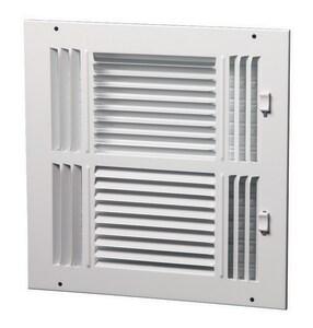 PROSELECT® 12 x 12 in. Residential Ceiling & Sidewall Register in White 4-way Steel PS4WW1212