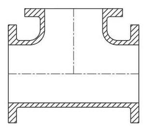 Tyler Union Flanged Ductile Iron C110 Full Body Tee DFT24