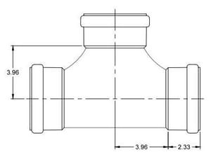 GPK 4 in. Gasket Straight and 2-Way Clean-Out SDR 35 PVC Heavy Wall Sewer Tee G9930444