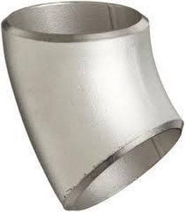 4 in. Butt Weld Schedule 10 316L Stainless Steel Long Radius 45 Degree Elbow IS16LW4P