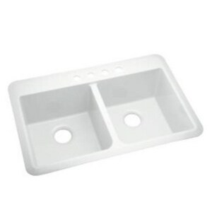 Sterling Slope® 33 x 22 x 9 in. Double Equal Sink White S104240