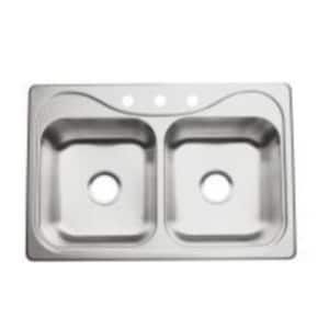Sterling Southhaven® 20 ga 2-Bowl Topmount Kitchen Sink with Center Drain S11402NA