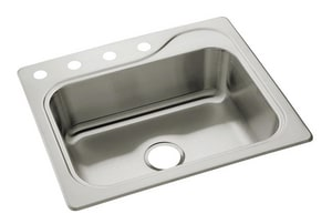 Sterling Southhaven® Single Bowl Stainless Steel Kitchen Sink 4 Hole S114034NA