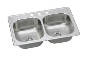 PROFLO® Bealeton 33 x 22 in. 3 Hole Stainless Steel Double Bowl Drop-in Kitchen Sink PFSR332273