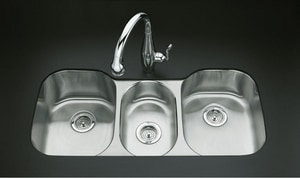 Kohler Undertone® 41-5/8 x 20-1/8 in. Stainless Steel Triple Bowl Undermount Kitchen Sink K3166-NA