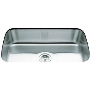 KOHLER Undertone® 31-1/2 x 17-3/4 in. No Hole Stainless Steel Single Bowl Undermount Kitchen Sink K3183-NA