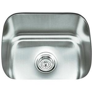 Kohler Undertone® 18-1/2 x 15-3/4 in. Stainless Steel Single Bowl Undermount Kitchen Sink K3184-NA