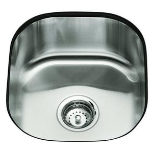 Kohler Undertone® 15-1/2 x 17-1/8 x 7-5/8 in. Rounded Undermount Single-Bowl Kitchen Sink No Hole K3336-NA