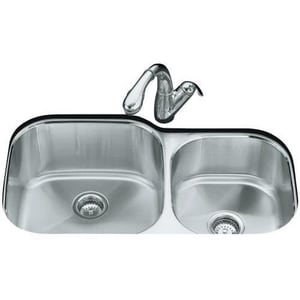 Kohler Undertone® 35-1/8 x 20-1/8 in. Stainless Steel Double Bowl Undermount Kitchen Sink K3356-NA