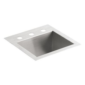 KOHLER Vault™ 15 x 15 in. 3 Hole Drop-in and Undermount Stainless Steel Bar Sink K3840-3-NA