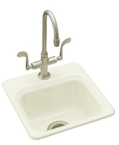 KOHLER Northland™ 15 x 15 in. 1-Hole Self-Rimming Entertainment Sink in Biscuit K6579-1-96
