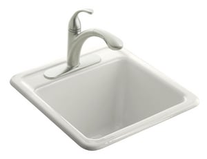 Kohler Park Falls™ 22 x 22 x 13- 5/8 in. Top Mount Utility Sink with Single Faucet Hole Whites K6655-1-0