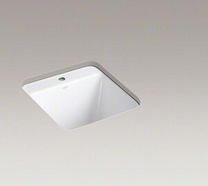 Kohler Park Falls™ 22 x 22 x 13- 5/8 in. Under- Mount Kitchen Sink with Single Faucet Hole Whites K6655-1U-0