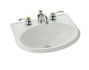 KOHLER Devonshire® 19-3/4 x 16-7/8 in. Drop-in Bathroom Sink with Single Faucet Hole Biscuit K2279-1-96