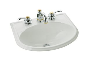 Kohler Devonshire® 19-3/4 x 16-7/8 in. Drop-In Countertop Lavatory Sink in Biscuit K2279-4-96