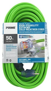 Prime Wire and Cable 50 ft. Extension Cord in Neon Green PNS512830 at Pollardwater