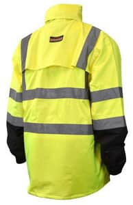 Radians 300D Series L Size Polyurethane Class 3 Rain Jacket in Hi-Viz Green, Silver and Black RRW303Z1YL at Pollardwater