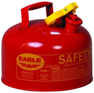 Eagle Type I 2.5 gal Powder Coated Galvanized Steel Type I Gasoline Safety Can in Red EUI25S at Pollardwater