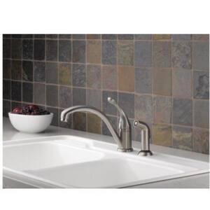 Delta Faucet Collins™ Single Handle Kitchen Faucet in White D441DST