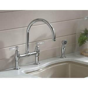 Kohler Parq® Two Handle Bridge Kitchen Faucet in Vibrant Stainless K6131-4-VS