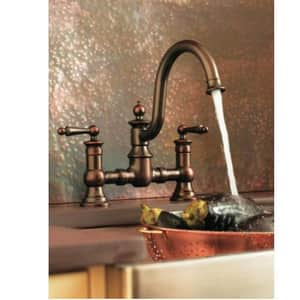 Moen Waterhill™ 3-Hole High Arc Kitchen Sink Faucet with Sidespray and Double Lever Handle in Oil Rubbed Bronze MS713ORB