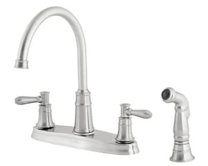 Pfister Harbor® Double Lever Handle Kitchen Faucet with Sidespray in Stainless Steel PF036CL4S