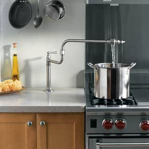 Kohler HiRise™ 1-Hole Deckmount Pot Filler Kitchen Sink Faucet with Single Lever Handle and 22 in. Extended Spout in Brushed Stainless K7323-4-BS