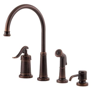Pfister Ashfield™ 2.2 gpm Single Lever Handle Deckmount Kitchen Sink Faucet 360 Degree Swivel High Arc Spout 1/2 in. NPSM Connection in Rustic Bronze PGT264YPU