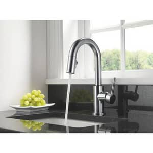 Delta Faucet Trinsic® 1.8 gpm 1 or 3 Hole Deck Mount Kitchen Faucet with Single Lever Handle in Arctic Stainless D9159DST