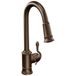 Moen Woodmere® 1.5 gpm Single Lever Handle Deckmount Kitchen Sink Faucet High Arc Pull-Down Spout 3/8 in. Compression Connection in Oil Rubbed Bronze MS7208ORB