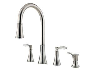 Pfister Petaluma™ 2.2 gpm Double Lever Handle Deckmount Kitchen Sink Faucet 360 Degree Swivel High Arc Pull-Down Spout in Stainless Steel PF5314PAS