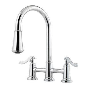 Pfister Ashfield™ 2.2 gpm Double Lever Handle Deckmount Kitchen Sink Faucet 360 Degree Swivel High Arc Pull-Down Spout in Polished Chrome PGT531YPC
