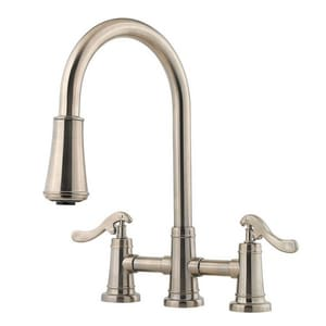 Pfister Ashfield™ 2.2 gpm Double Lever Handle Deckmount Kitchen Sink Faucet 360 Degree Swivel High Arc Pull-Down Spout in Brushed Nickel PGT531YPK