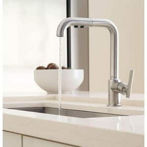 Kohler Purist® 1.5 gpm 1 Hole Deck Mount Kitchen Faucet with Single Lever Handle in Vibrant® Polished Nickel K7505-SN