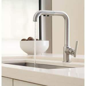 Kohler Purist® 1.8 gpm Single Lever Handle Deckmount Kitchen Sink Faucet 360 Degree Swivel High Arc Pull-Out Spout Compression Connection in Matte Black K7505-BL